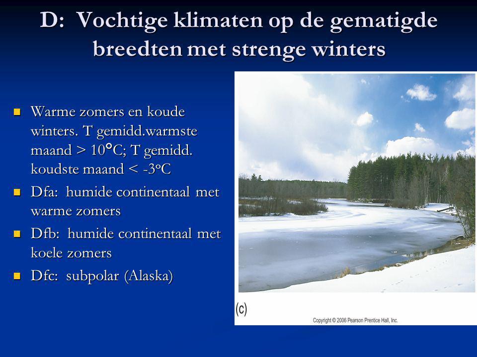 D: Vochtige klimaten op de gematigde breedten met strenge winters