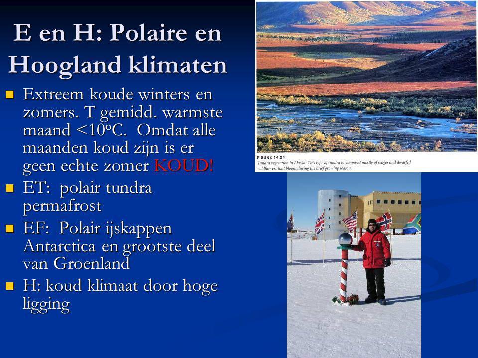 E en H: Polaire en Hoogland klimaten