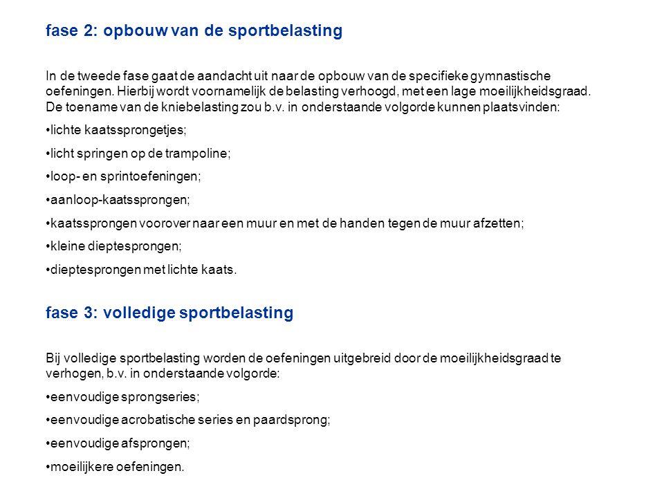 fase 2: opbouw van de sportbelasting