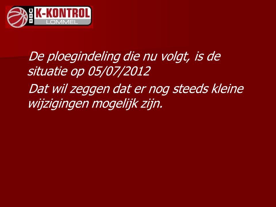 De ploegindeling die nu volgt, is de situatie op 05/07/2012