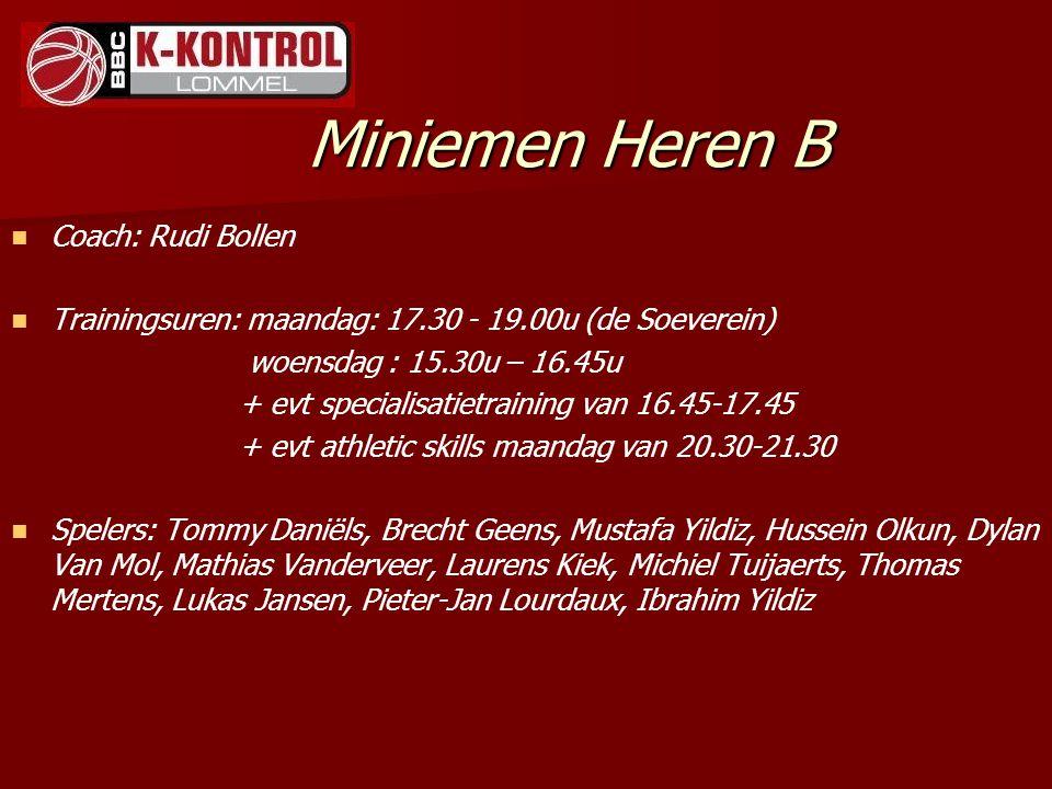 Miniemen Heren B Coach: Rudi Bollen