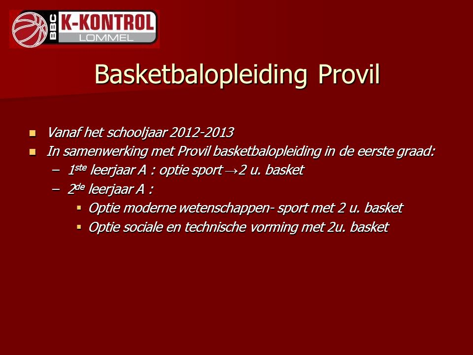 Basketbalopleiding Provil