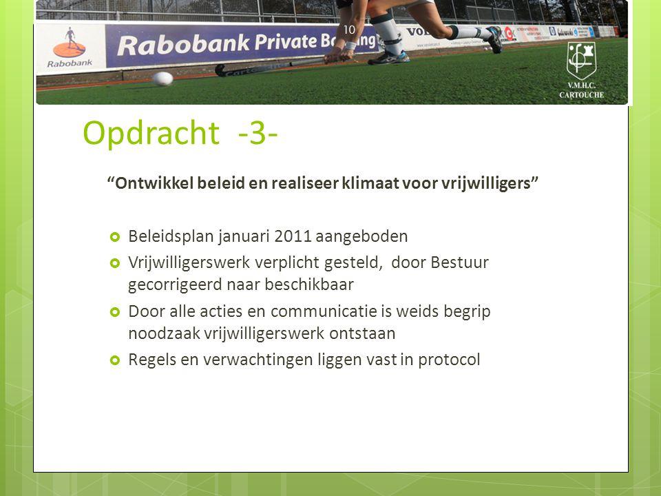 Opdracht -3- Ontwikkel beleid en realiseer klimaat voor vrijwilligers Beleidsplan januari 2011 aangeboden.