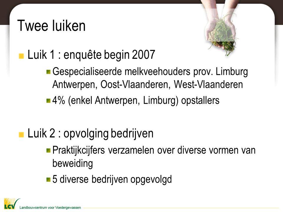Twee luiken Luik 1 : enquête begin 2007 Luik 2 : opvolging bedrijven