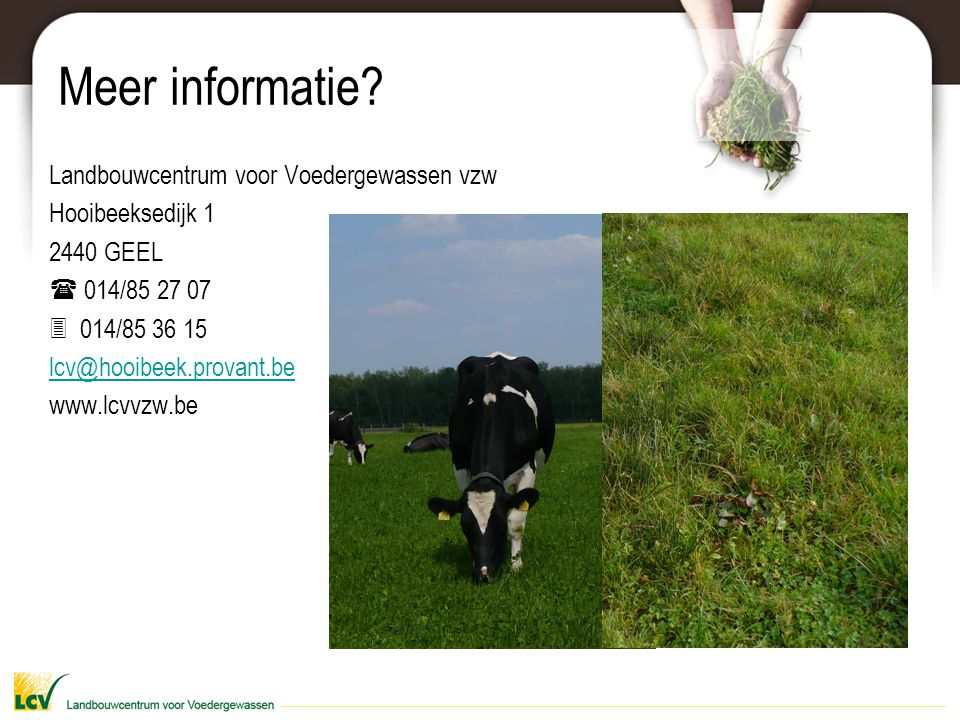 Meer informatie Landbouwcentrum voor Voedergewassen vzw