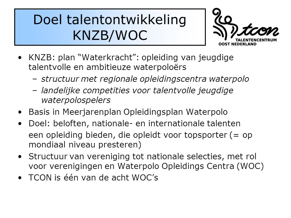 Doel talentontwikkeling KNZB/WOC