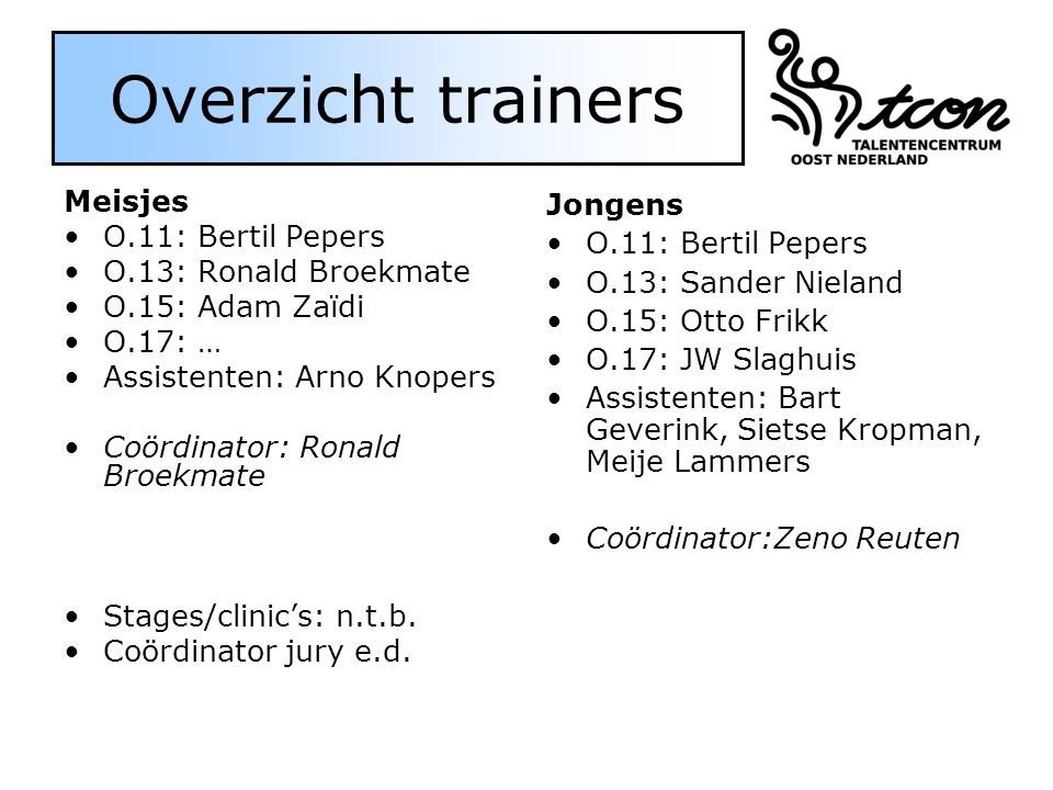 Overzicht trainers Meisjes O.11: Bertil Pepers O.13: Ronald Broekmate