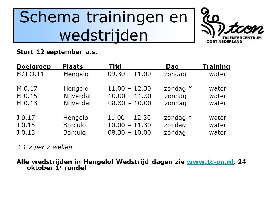 Schema trainingen en wedstrijden