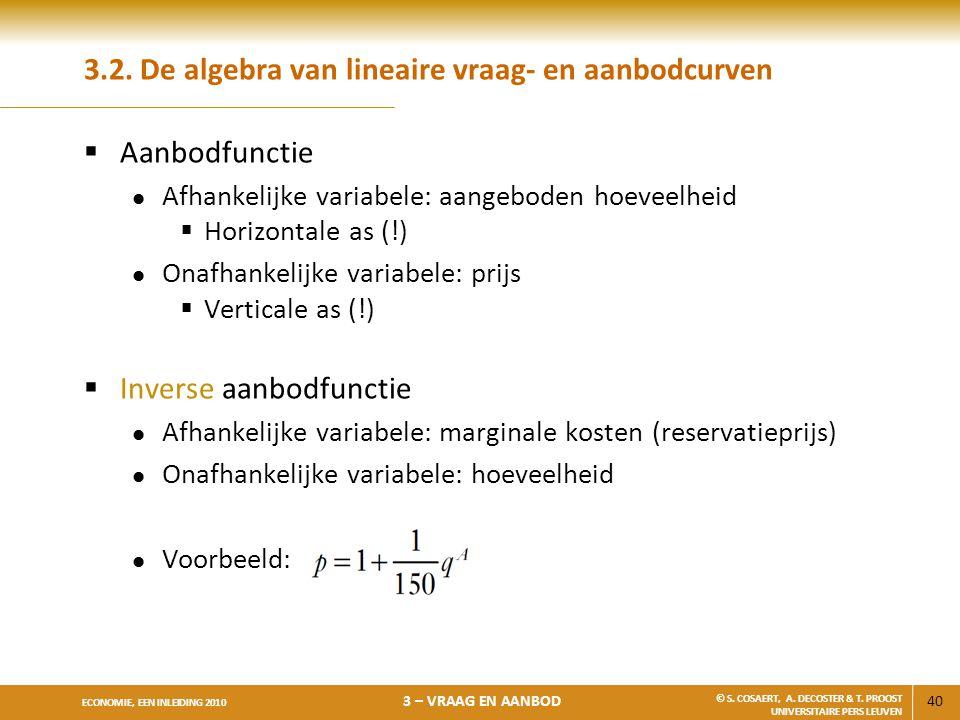 3.2. De algebra van lineaire vraag- en aanbodcurven