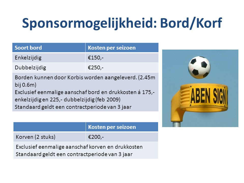 Sponsormogelijkheid: Bord/Korf