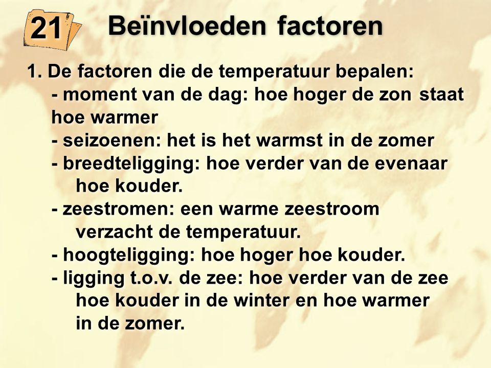 21 Beïnvloeden factoren 1. De factoren die de temperatuur bepalen: