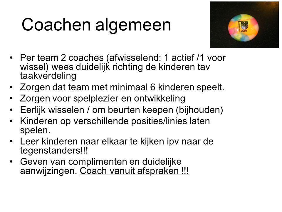 Coachen algemeen Per team 2 coaches (afwisselend: 1 actief /1 voor wissel) wees duidelijk richting de kinderen tav taakverdeling.