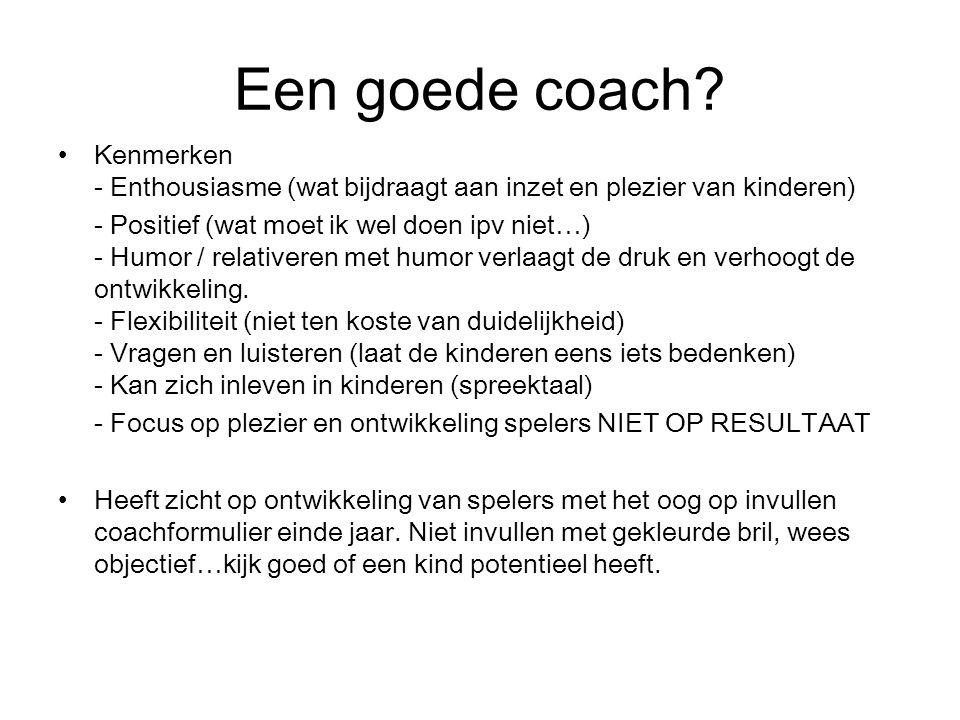Een goede coach Kenmerken - Enthousiasme (wat bijdraagt aan inzet en plezier van kinderen)