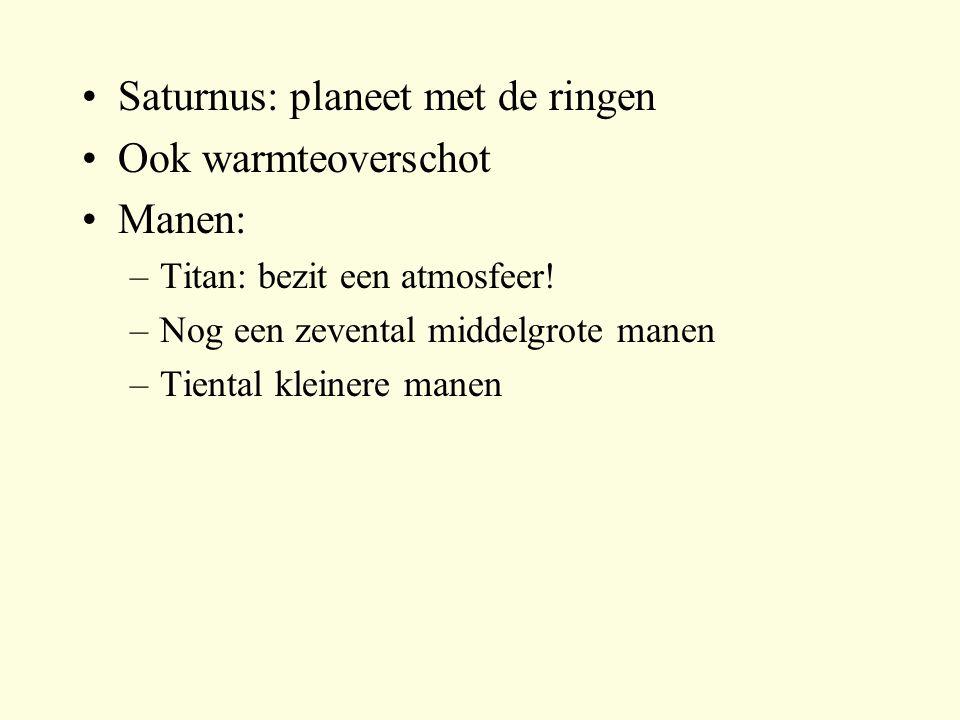 Saturnus: planeet met de ringen Ook warmteoverschot Manen:
