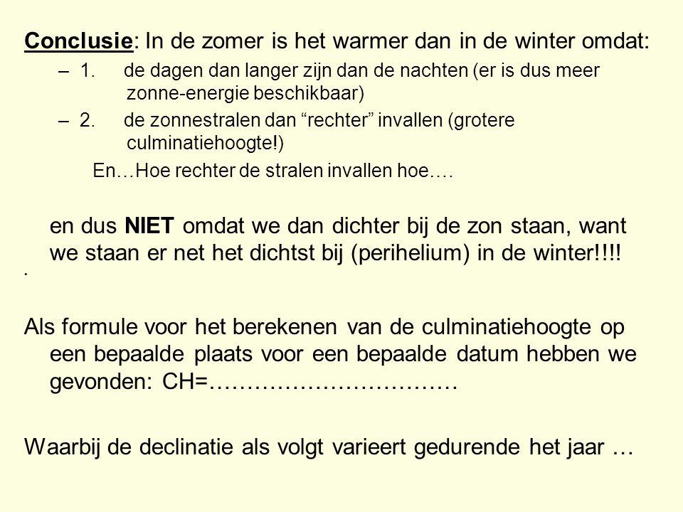Conclusie: In de zomer is het warmer dan in de winter omdat: