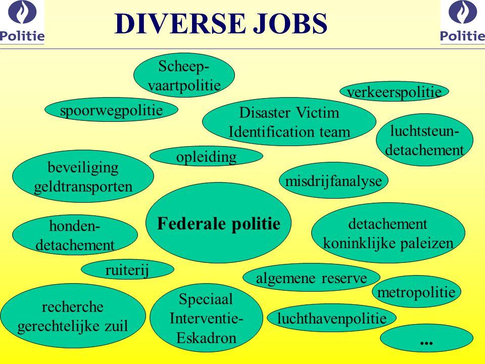 DIVERSE JOBS Federale politie ... Scheep- vaartpolitie verkeerspolitie