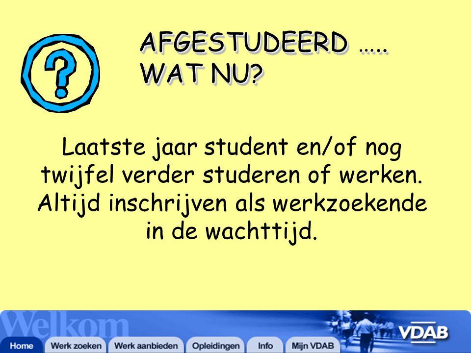 AFGESTUDEERD ….. WAT NU. Laatste jaar student en/of nog twijfel verder studeren of werken.