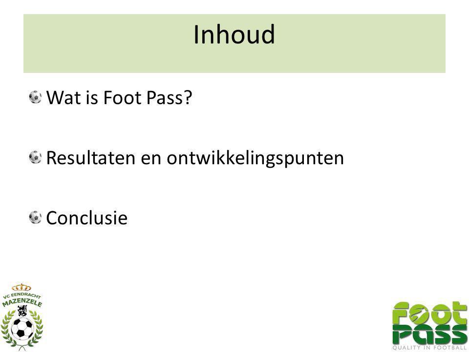 Inhoud Wat is Foot Pass Resultaten en ontwikkelingspunten Conclusie