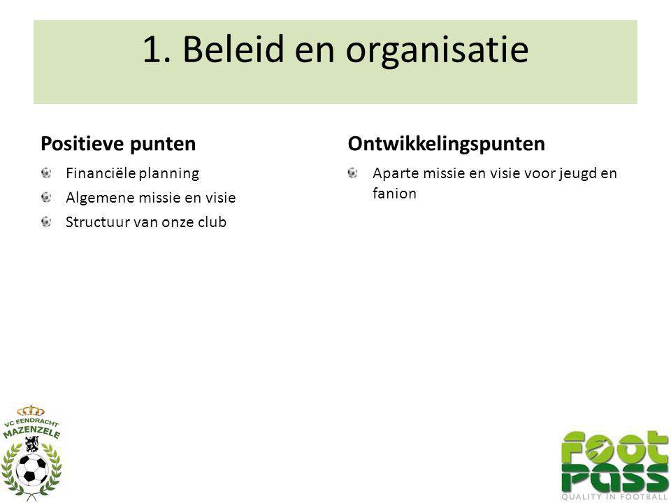1. Beleid en organisatie Positieve punten Ontwikkelingspunten