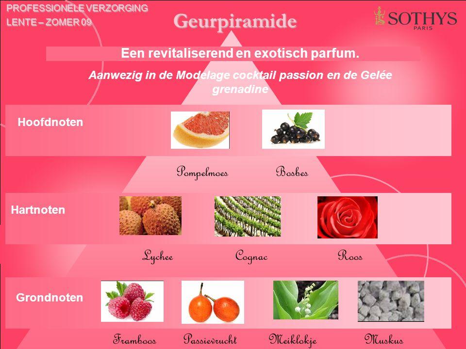 Geurpiramide Pompelmoes Bosbes Lychee Cognac Roos