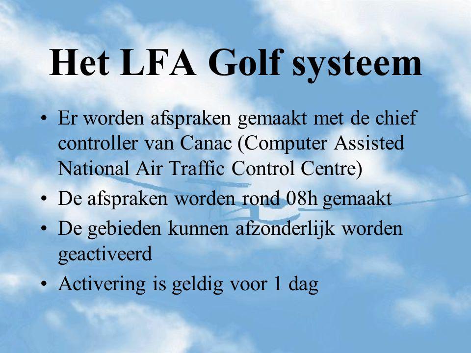 Het LFA Golf systeem Er worden afspraken gemaakt met de chief controller van Canac (Computer Assisted National Air Traffic Control Centre)