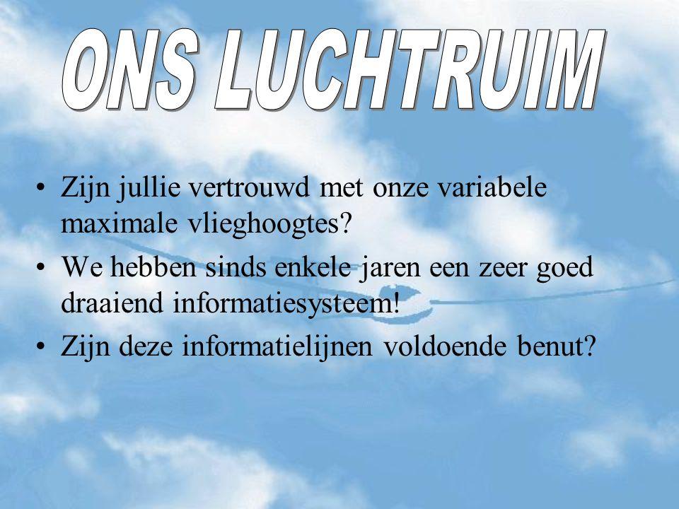 ONS LUCHTRUIM Zijn jullie vertrouwd met onze variabele maximale vlieghoogtes We hebben sinds enkele jaren een zeer goed draaiend informatiesysteem!