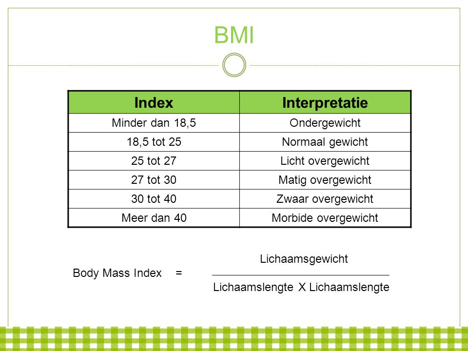 BMI Index Interpretatie Minder dan 18,5 Ondergewicht 18,5 tot 25