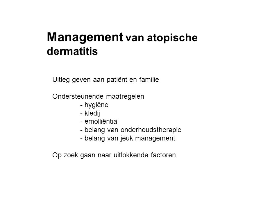 Management van atopische dermatitis