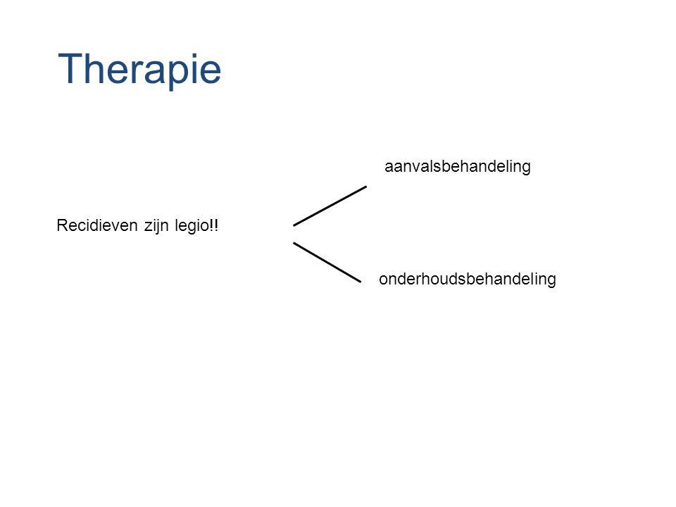 Therapie aanvalsbehandeling Recidieven zijn legio!!