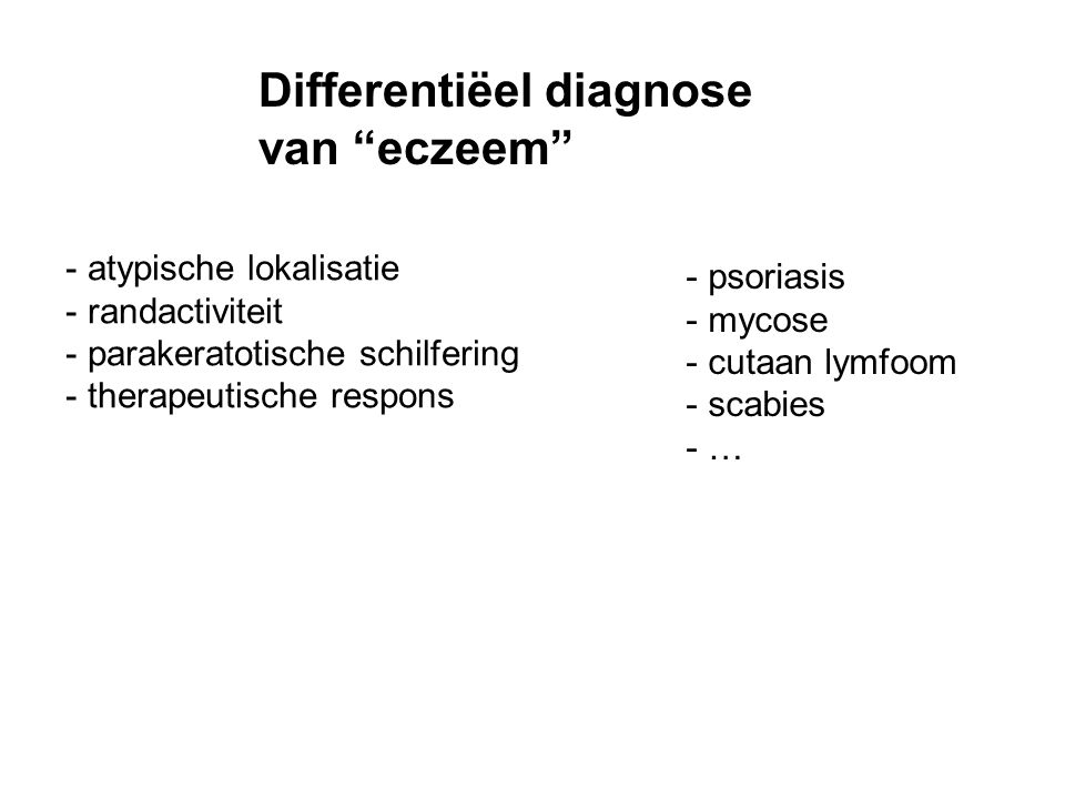 Differentiëel diagnose van eczeem