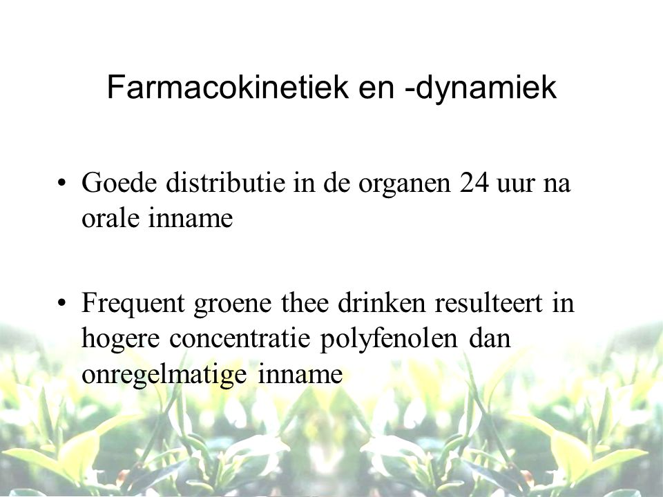 Farmacokinetiek en -dynamiek