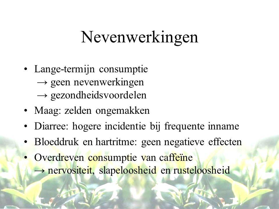 Nevenwerkingen Lange-termijn consumptie → geen nevenwerkingen → gezondheidsvoordelen. Maag: zelden ongemakken.