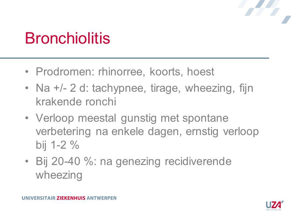 Bronchiolitis Prodromen: rhinorree, koorts, hoest