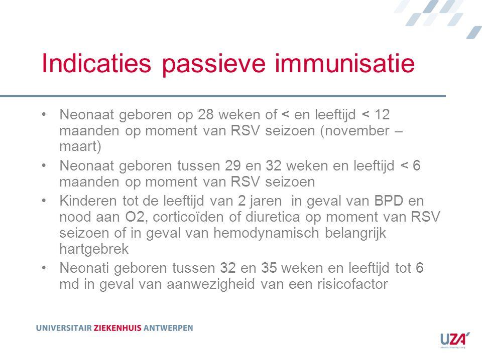 Indicaties passieve immunisatie