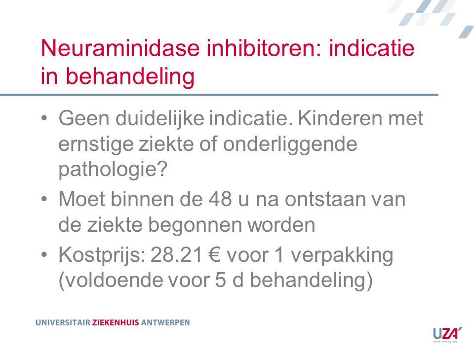 Neuraminidase inhibitoren: indicatie in behandeling