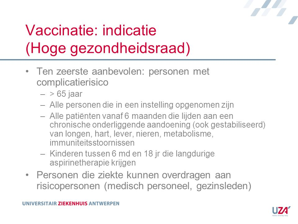 Vaccinatie: indicatie (Hoge gezondheidsraad)
