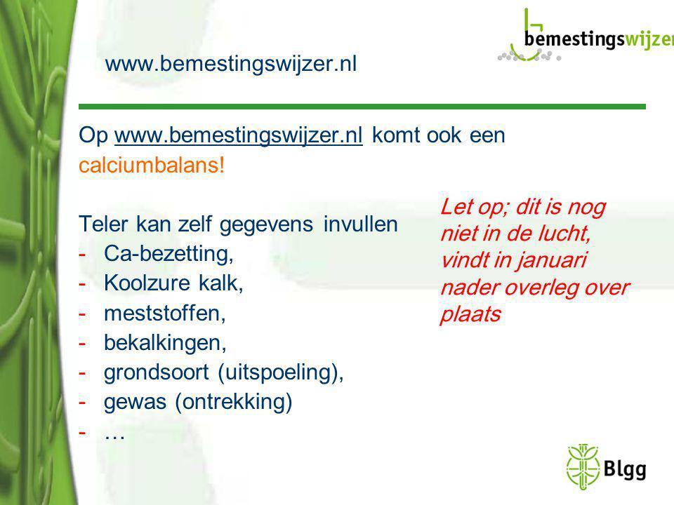 www.bemestingswijzer.nl Op www.bemestingswijzer.nl komt ook een. calciumbalans! Teler kan zelf gegevens invullen.