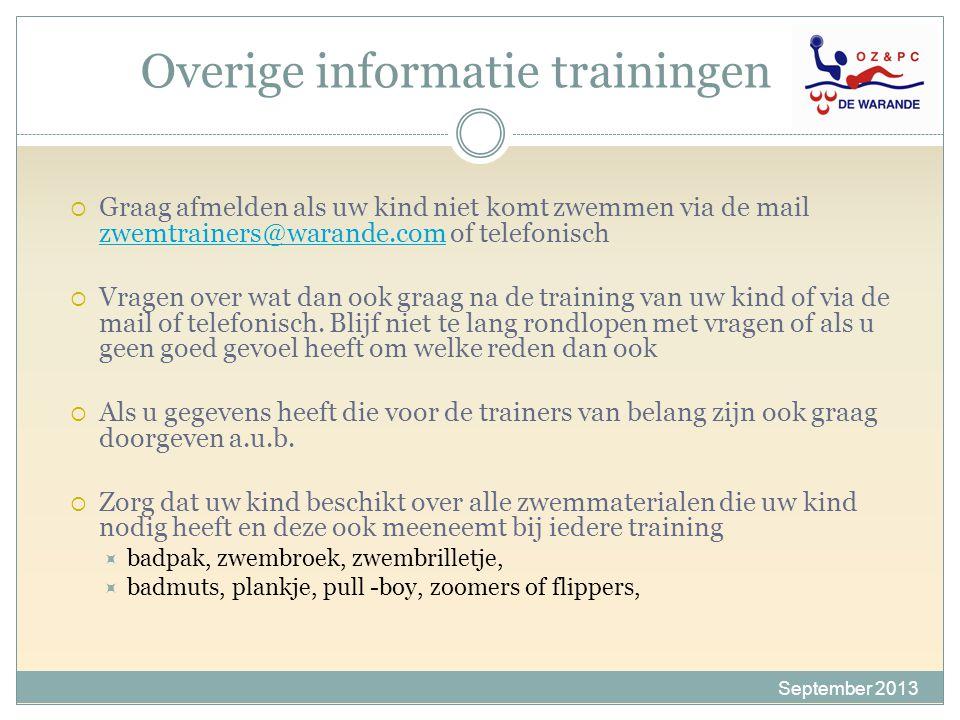 Overige informatie trainingen