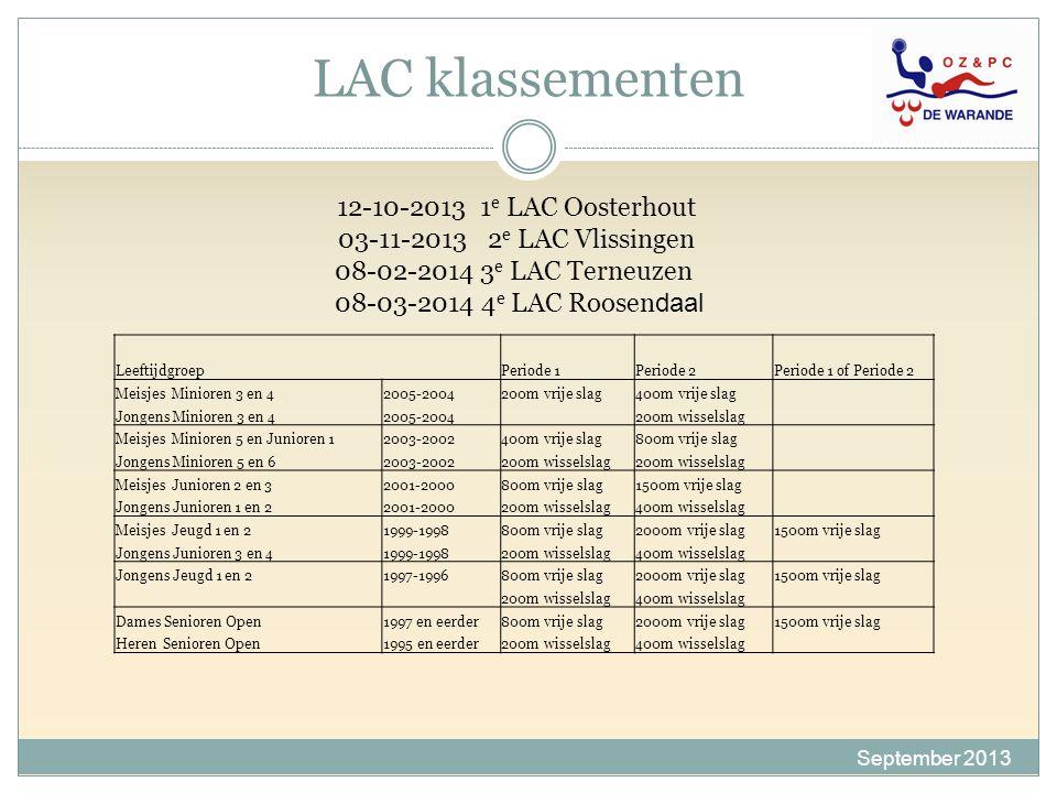 LAC klassementen 12-10-2013 1e LAC Oosterhout