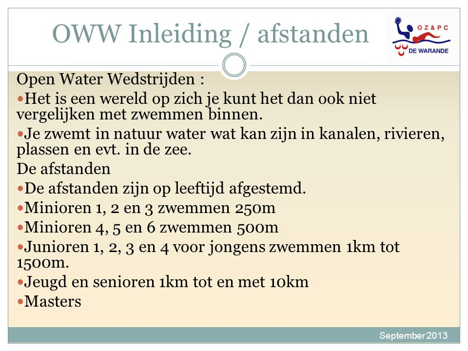 OWW Inleiding / afstanden
