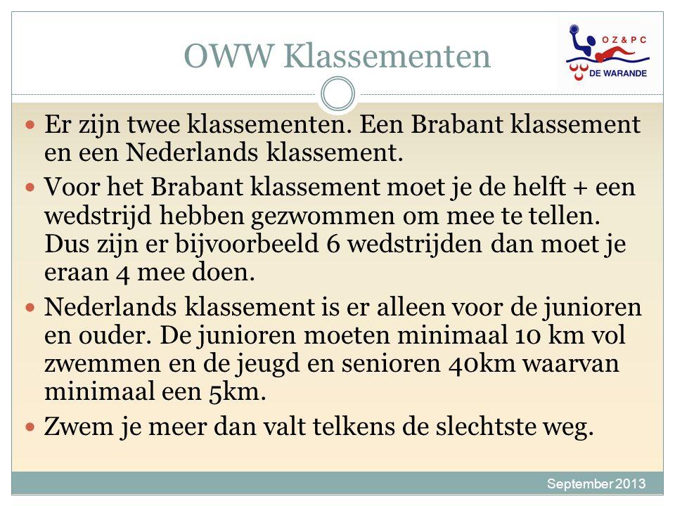 OWW Klassementen Er zijn twee klassementen. Een Brabant klassement en een Nederlands klassement.