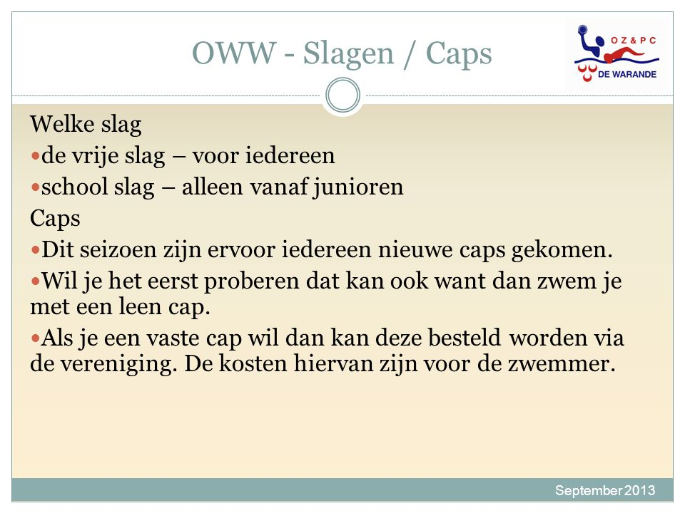 OWW - Slagen / Caps Welke slag de vrije slag – voor iedereen