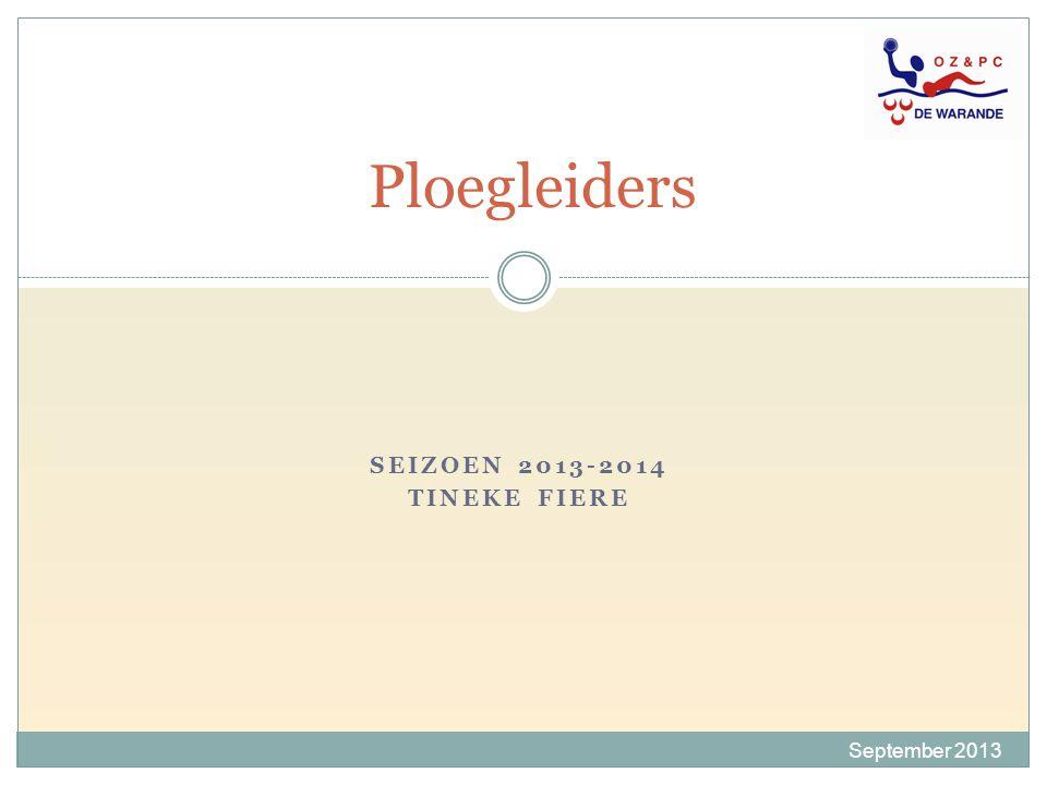 Ploegleiders SEIZOEN 2013-2014 TINEKE FIERE September 2013