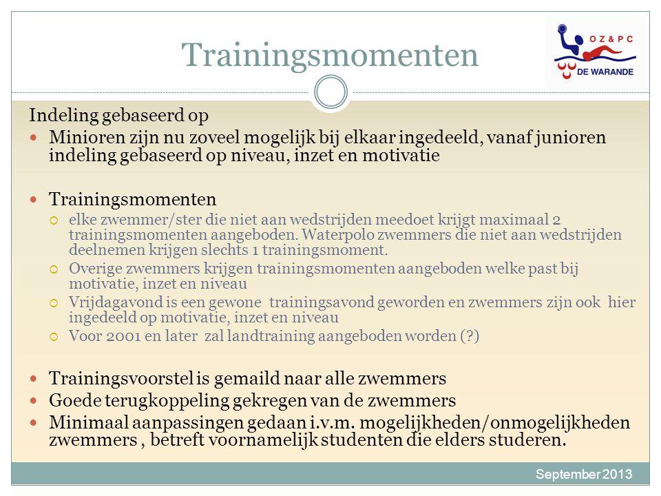 Trainingsmomenten Indeling gebaseerd op