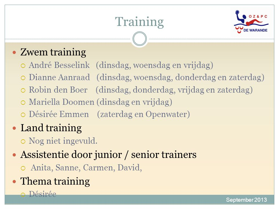 Training Zwem training Land training