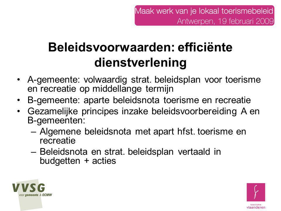 Beleidsvoorwaarden: efficiënte dienstverlening