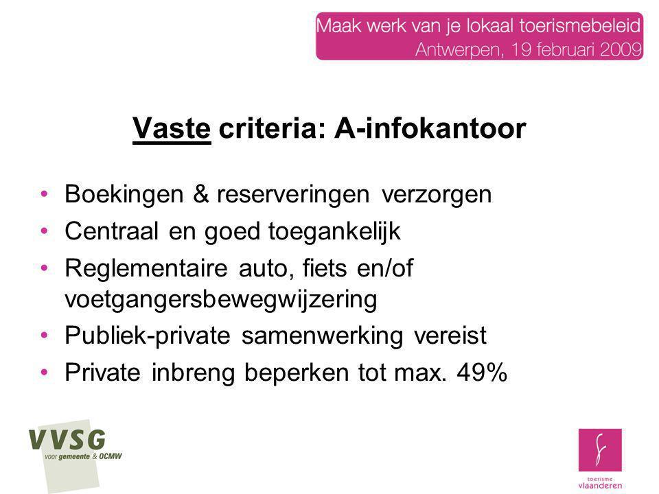 Vaste criteria: A-infokantoor