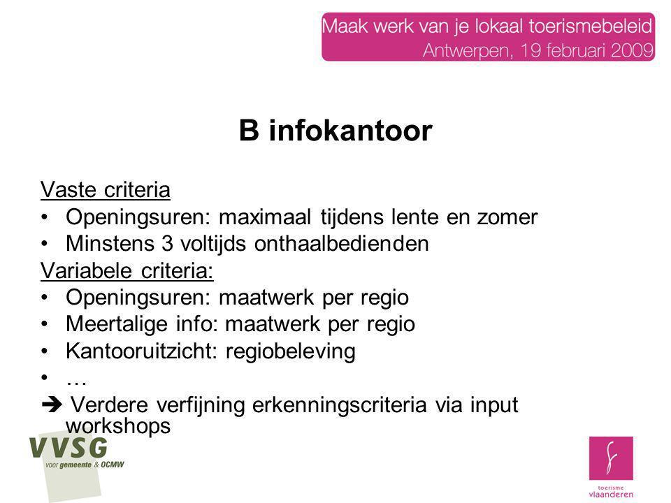 B infokantoor Vaste criteria