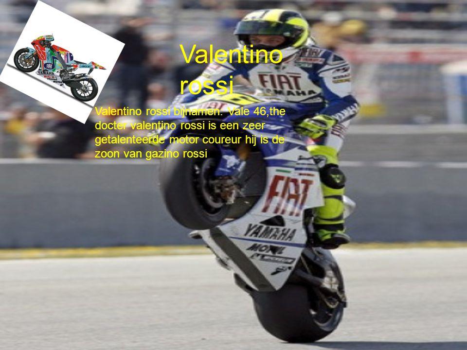 Valentino rossi Valentino rossi bijnamen: Vale 46,the docter valentino rossi is een zeer getalenteerde motor coureur hij is de zoon van gazino rossi.