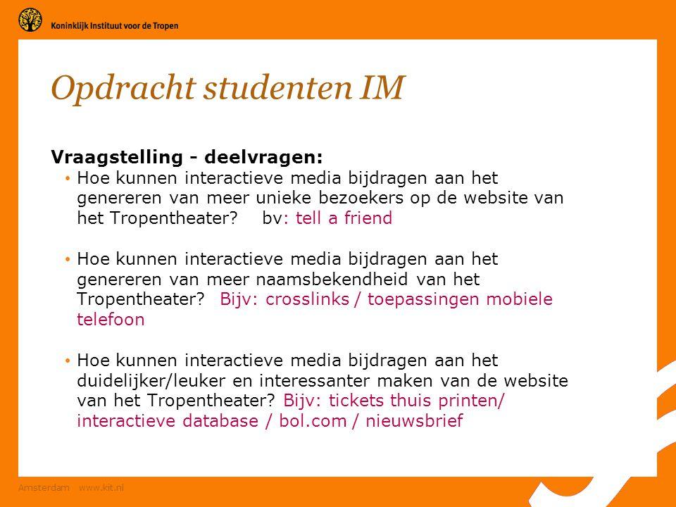 Opdracht studenten IM Vraagstelling - deelvragen: